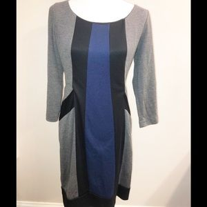 London Times gray, blue and black shift dress